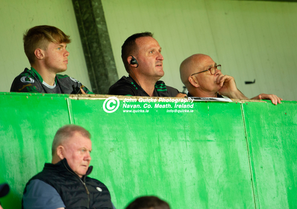 04-07-21. Meath v Longford - Leinster SFC Quarter-Final at Pairc Tailteann, Navan.<br />Andy McEntee, Meath Manager looking pleased as he wathes proceedings  from the Press Box with selector Finian Murtagh (Right) and scoreboard operator Colm O'Toole (Left).<br />Photo: John Quirke / www.quirke.ie<br />©John Quirke Photography, 16 Proudstown Road, Navan. Co. Meath. (info@quirke.ie / 046-9028461 / 087-2579454).