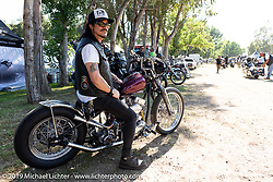 Custom bike builder and musician Gilby Clarke (formerly of Guns N' Roses) on his Harley-Davidson Panhead at the Born-Free Vintage Motorcycle show at Oak Canyon Ranch, Silverado, CA, USA. Sunday, June 23, 2019. Photography ©2019 Michael Lichter.