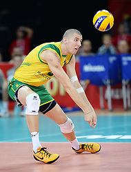 07.09.2014, Jahrhunderthalle, Breslau, POL, FIVB WM, Australien vs Venezuela, Gruppe A, im Bild ADAM WHITE // ADAM WHITE // during the FIVB Volleyball Men's World Championships Pool A Match beween Australia and Venezuela at the Jahrhunderthalle in Breslau, Poland on 2014/09/07.<br /> <br /> ***NETHERLANDS ONLY***