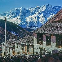 The Himalaya tower behind Pangboche village in the Khumbu region of Nepal.