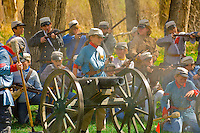 Civil war battle reenactment by children from Wilder Elementary School at Chatfield State Park, Littleton, Colorado