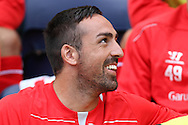Liverpool's Jose Enrique has a laugh. pre-season friendly match, Preston North End v Liverpool at Deepdale in Preston, England on Saturday 19th July 2014.<br /> pic by Chris Stading, Andrew Orchard sports photography.