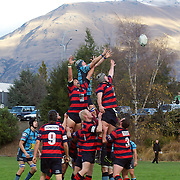 Players challenge for the ball at a line out  during the Wakatipu V Arrowtown Rugby Match at Queenstown Recreation Ground,  Queenstown, South Island, New Zealand, 11th June 2011
