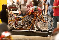 El Scorcho, Mark Shell's Bonneville Customs' custom 1996 Harley-Davidson Shovelhead from Idaho Falls, Idaho on display at the Handbuilt Show. Austin, Texas USA. Friday, April 12, 2019. Photography ©2019 Michael Lichter.