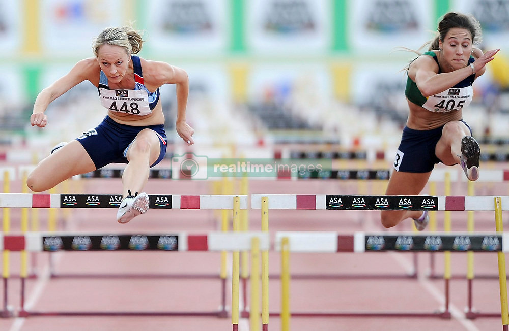 Stellenbosch. 160416 Claudia Heunis winning the womens 100m  hurdles final during the ASA Senior track and field Championships held at Coetzenberg in Stellenbosch. Picture Leon Lestrade