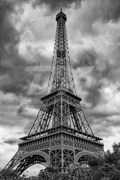Clouds hover over the Eiffel Tower in Paris, France on May 18, 2012.