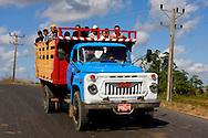 Truck hauling people near Vinales in Pinar del Rio, Cuba.