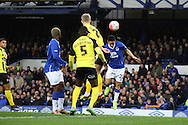 Steven Pienaar of Everton gets his head to the ball but sees his effort go wide. The Emirates FA cup, 3rd round match, Everton v Dagenham & Redbridge at Goodison Park in Liverpool on Saturday 9th January 2016.<br /> pic by Chris Stading, Andrew Orchard sports photography.