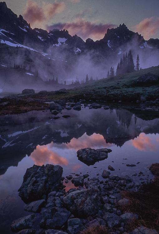 Upper Royal Basin, Needles Peak evening reflection in an alpine tarn, summer, Olympic National Park, Washington, USA