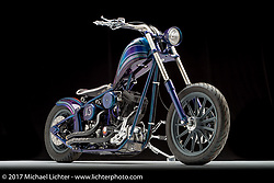 """Nikki Martin of Denver, CO from Roy's Toys softail chopper """"Lucky 13"""". Photographed by Michael Lichter in Sturgis, SD on August 12, 2017. ©2017 Michael Lichter."""