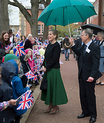 April 25, 2018 - Hereford, Herefordshire, United Kingdom - Countess of Wessex visits Hereford.  The Countess of Wessex visited Hereford Cathedral to look at the Weeping Window display which is an installation of the ceramic poppies that formed part of the 'Blood swept lands and Seas of Red display at the Tower of London. (Credit Image: © i-Images via ZUMA Press)
