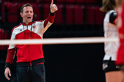 Coach Bart Oosting of Apollo 8 in action during the cupfinal between Laudame Financials VCN vs. Apollo 8 on April 05, 2021 in sports hall MartiniPlaza, Groningen