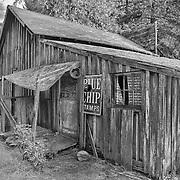 Leaning Wooden Shack Rear Porch - Golden, Oregon - HDR - Infrared Black & White