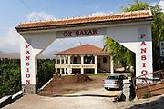 Turkey July 21 2011: View of entrance to Oz Safak Pension in  Çukurbag.  Copyright 2011 Peter Horrell