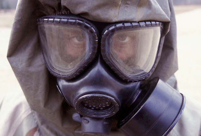 21 Feb 2003, Missouri, USA --- Live sarin and VK nerve agent training. --- Photo by Leif Skoogfors, Location: Fort Leonard Wood, Missouri, United States. --- Image by © Leif Skoogfors