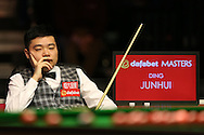 Ding Junhui (Chn) looking on. Ding Junhui (Chn) v Kyren Wilson (Eng),  1st round match at the Dafabet Masters Snooker 2017, day 1 at Alexandra Palace in London on Sunday 15th January 2017.<br /> pic by John Patrick Fletcher, Andrew Orchard sports photography.