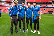 The four FGR goalkeepers Dale Eve, Lenny Pidgely, Jonny Maxted & Steve Arnold Forest Green Rovers Football Club Familiarisation visit to Wembley Stadium, London, England on 10 May 2016. Photo by Shane Healey.