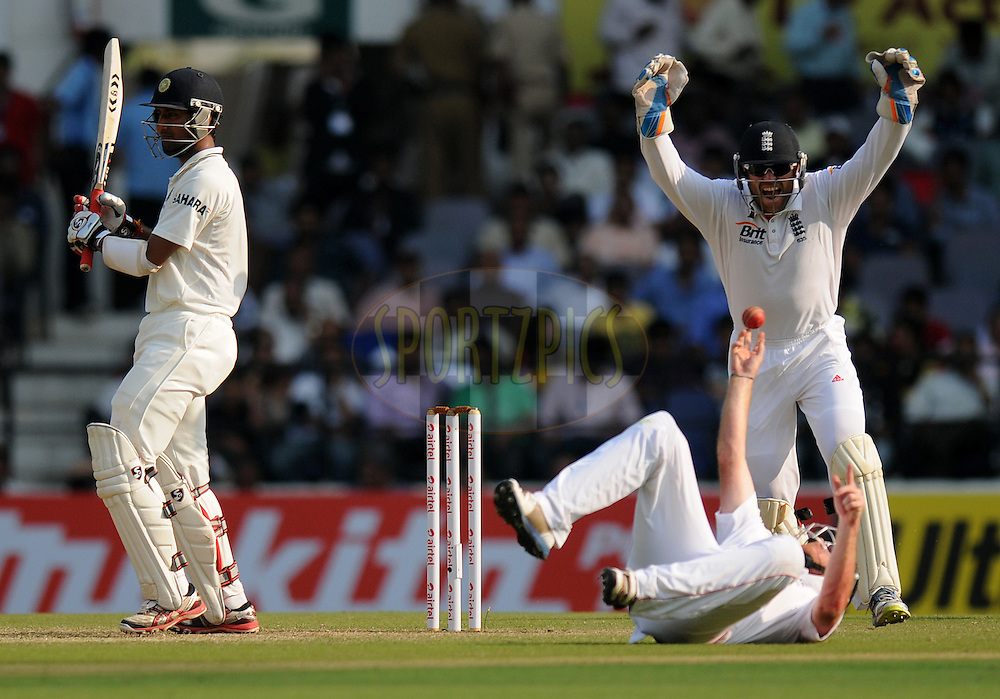 Ian Bell of England celebrates after finishing a catch to get Cheteshwar Pujara of India  during day two of the 4th Airtel Test Match between India and England held at VCA ground in Nagpur on the 14th December 2012..Photo by  Pal Pillai/BCCI/SPORTZPICS .