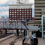 Downtown Kansas City's Western Auto building and railways behind Union Station