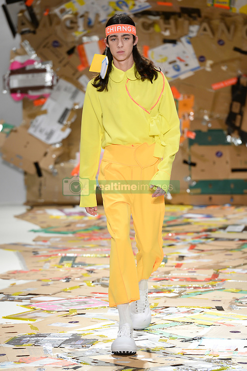 Models on the catwalk during the Angus Chiang Autumn/Winter 2017 London Fashion Week show at the Fashion Scout venue in Freemason's Hall, London. Picture date: Friday February 17th, 2017. Photo credit should read: Matt Crossick/ EMPICS Entertainment.