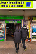 Your wife said its OK to buy a gun today<br /> Novelty shop on the Blackpool sea front, with pellet guns, air rifles and replica guns for sale at the back. on 21st April 2021 in Blackpool, Lancashire, United Kingdom.