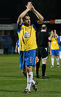 Photo: Steve Bond/Sportsbeat Images.<br /> Macclesfield Town v Hereford United. Coca Cola League 2. 26/12/2007. Hereford skipper Ben Smith applauds the travelling support