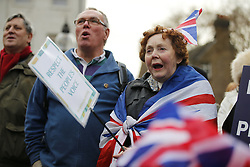 © Licensed to London News Pictures. 23/11/2016. London, UK. Demonstration outside The Houses of Parliamnet in London to oppose the High Court's ruling earlier this month that the Article 50 process must be triggered by an act of Parliament. Photo credit: Tolga Akmen/LNP