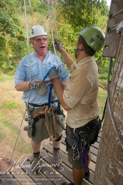 Paul getting ready to rappel. Costa Rica.