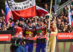 Robert Johansson, Anders Fannemel, Johan Andre Forfang and Andreas Stjernen of Norway celebrate after winning during the Ski Flying Hill Men's Team Competition at Day 3 of FIS Ski Jumping World Cup Final 2017, on March 25, 2017 in Planica, Slovenia. Photo by Vid Ponikvar / Sportida