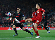 Trent Alexander-Arnold of Liverpool clears the ball during the UEFA Champions League match at Anfield, Liverpool. Picture date: 11th March 2020. Picture credit should read: Darren Staples/Sportimage