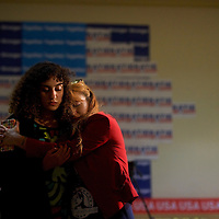 PHILADELPHIA, PA - November 8, 2016.  From left, Rana Fayez and Lisa Graham embrace as more disappointing results are announced about Hillary Clinton's chances during a Pennsylvania Democratic Party election night watch party at the Sheraton Downtown for in Philadelphia, PA November 8, 2016.  CREDIT: Mark Makela for The New York Times     NYTELX