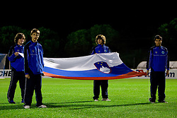 Slovenian flag at the last 2010 FIFA World Cup South Africa Qualifying match in Group 3 between San Marino and Slovenia, on October 14, 2009, in Olimpico Stadium, Serravalle, San Marino. Slovenia won 3:0. (Photo by Vid Ponikvar / Sportida)