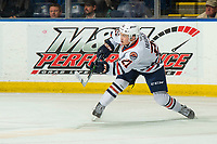 KELOWNA, BC - OCTOBER 12: Ryan Hughes #21 of the Kamloops Blazers takes a shot against the Kelowna Rockets at Prospera Place on October 12, 2019 in Kelowna, Canada. (Photo by Marissa Baecker/Shoot the Breeze)