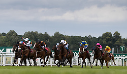 Vis a Vis (second left, white cap) ridden by Shane Kelly comes through to win The Randox Food Handicap during Randox Health Gentlemen's Day at Sandown Park Racecourse, Esher.