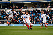 Goal, Jamal Lowe of Portsmouth scores, Wycombe Wanderers 0-1 Portsmouth during the EFL Sky Bet League 1 match between Wycombe Wanderers and Portsmouth at Adams Park, High Wycombe, England on 6 April 2019.