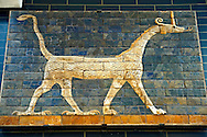 Dragon relief on glazed bricks from the Ishtar Gate, Babylon, Iraq constructed in about 575BC by order of King Nebuchadnezzar II on the north side of the city. Dedicated to the Babylonian goddess Ishtar, the monumental gate joined the inner & outer walls of Babylon it was one of the Seven Wonders of the ancient world. Istanbul Archaeological Museum. .<br /> <br /> If you prefer to buy from our ALAMY PHOTO LIBRARY  Collection visit : https://www.alamy.com/portfolio/paul-williams-funkystock/babylon-antiquities.html  Type -    Istanbul    - into the LOWER SEARCH WITHIN GALLERY box to refine search by adding background colour, place, museum etc<br /> <br /> Visit our ANCIENT WORLD PHOTO COLLECTIONS for more photos to download or buy as wall art prints https://funkystock.photoshelter.com/gallery-collection/Ancient-World-Art-Antiquities-Historic-Sites-Pictures-Images-of/C00006u26yqSkDOM