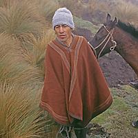 PERU. Horseman in fog above Mangalpa village in Cordillera Central near Chachapoyas. Andes Mountains.