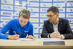 Zan Rudolf and Roman Dobnikar, new president of AZS during press conference when Slovenian athletes and their coaches sign contracts with Athletic federation of Slovenia for year 2016, on February 25, 2016 in AZS, Ljubljana, Slovenia. Photo by Vid Ponikvar / Sportida