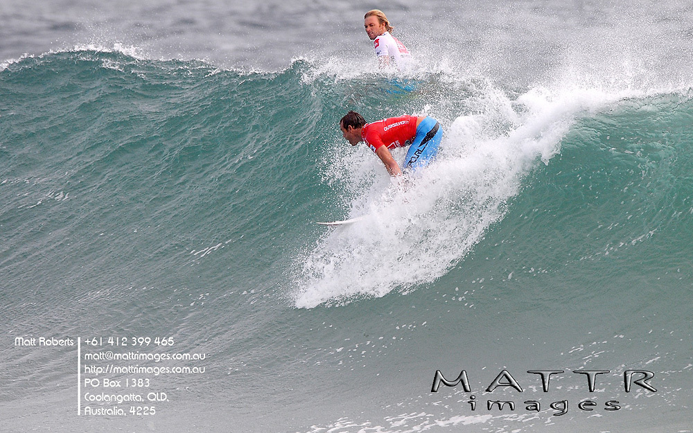 Gold Coast, Australia - March 3: Taylor Knox(red) using his priorty to stop Adrian Buchan taking off during round 3 of the Quiksilver Pro Gold Coast 2010 presented by Land Rover at Snapper Rocks on the Gold Coast, March 3, 2010 Photo by Matt Roberts/MATTRimages.com.au | Image ID: MTR_7871.jpg