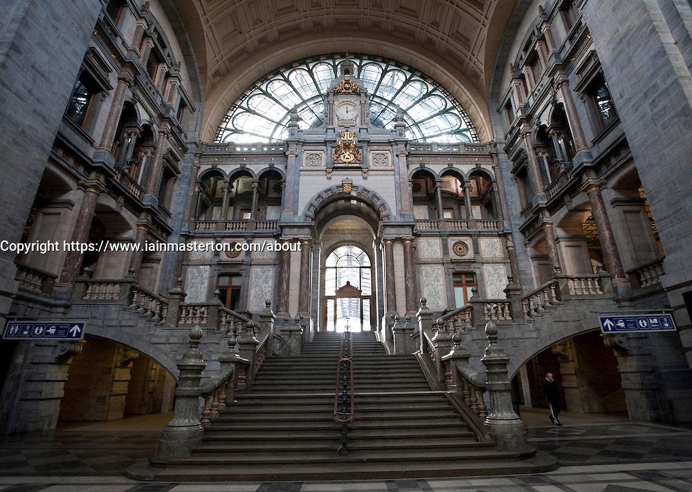 Interior of Antwerp Central railway station in Belgium