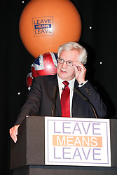 "© Licensed to London News Pictures . 22/09/2018. Bolton, UK. DAVID DAVIS speaks . Pro Brexit campaign group Leave Means Leave host a "" Save Brexit "" and "" Chuck Chequers "" rally at the University of Bolton Stadium , attended by leave-supporting politicians from a cross section of parties , including Conservative David Davis , former UKIP leader Nigel Farage and Labour's Kate Hoey . Photo credit: Joel Goodman/LNP"