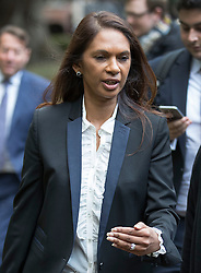 © Licensed to London News Pictures. 13/10/2016. London, UK. Gina Miller leaves the High Court. Ms Miller and other campaigners are launching a legal challenge, after the EU referendum result, to force the government to seek Parliamentary approval before Brexit negotiations begin. Photo credit: Peter Macdiarmid/LNP