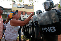 April 26, 2017 - Valencia, Carabobo, Venezuela - Opponents marched to the defense of the town to deliver a document in which they request the removal of the magistrates of the supreme court of justice. Photo: Juan Carlos Hernandez (Credit Image: © Juan Carlos Hernandez via ZUMA Wire)