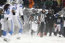 Philadelphia Eagles running back Bryce Brown #34 after carrying the ball during the NFL game between the Detroit Lions and the Philadelphia Eagles on Sunday, December 8th 2013 in Philadelphia. The Eagles won 34-20. (Photo by Brian Garfinkel)