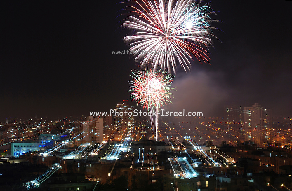 Israel, Fireworks display celebrating 61 years of independence of the State of Israel April 28 2009