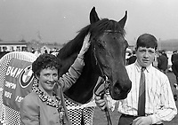Mrs Catherine Shubotham, Foxrock, Dublin in the winners enclosure with her Bay Colt Vestris Abu, after winning the BMW Championship Novice EBF Hurdle at Punchestown, 24/04/1990 (Part of the Independent Newspapers Ireland/NLI Collection).