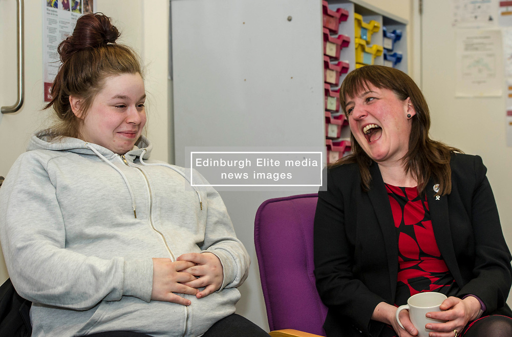 Pictured: Stacy McGuire, whose first baby is due any day now, swapped stories with the Minister<br /> Childcare and early years minister Maree Todd MSP confirmed the total number of boxes  durimg a visit to The Space Unit in Edinburgh today.  Ms Todd also announced that family nurses can now register mothers to receive their box. At close of play on Tuesday 6 March a total of 30,068 boxes will have been delivered.<br /> <br /> <br /> Ger Harley | EEm Date