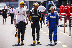 May 25, 2018 - Montecarlo, Monaco - 27 Nico Hulkenberg from Germany Renault Sport F1 Team RS18, 55 Carlos Sainz from Spain Renault Sport F1 Team RS18 and Alain Prost walking on the pitlane  during the Monaco Formula One Grand Prix  at Monaco on 25th of May, 2018 in Montecarlo, Monaco. (Credit Image: © Xavier Bonilla/NurPhoto via ZUMA Press)