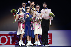 January 20, 2018 - Moscow, Russia - Ekaterina Bobrova and Dmitri Soloviev of Russia, left and silver medalists, Gabriella Papadakis and Guillaume Cizeron of France, center and gold medallists, and Alexandra Stepanova and Ivan Bukin of Russia, right and bronze medallists, pose after the pairs ice dance free dance event at the ISU European Figure Skating Championships in Moscow, on January 20, 2018. (Credit Image: © Igor Russak/NurPhoto via ZUMA Press)