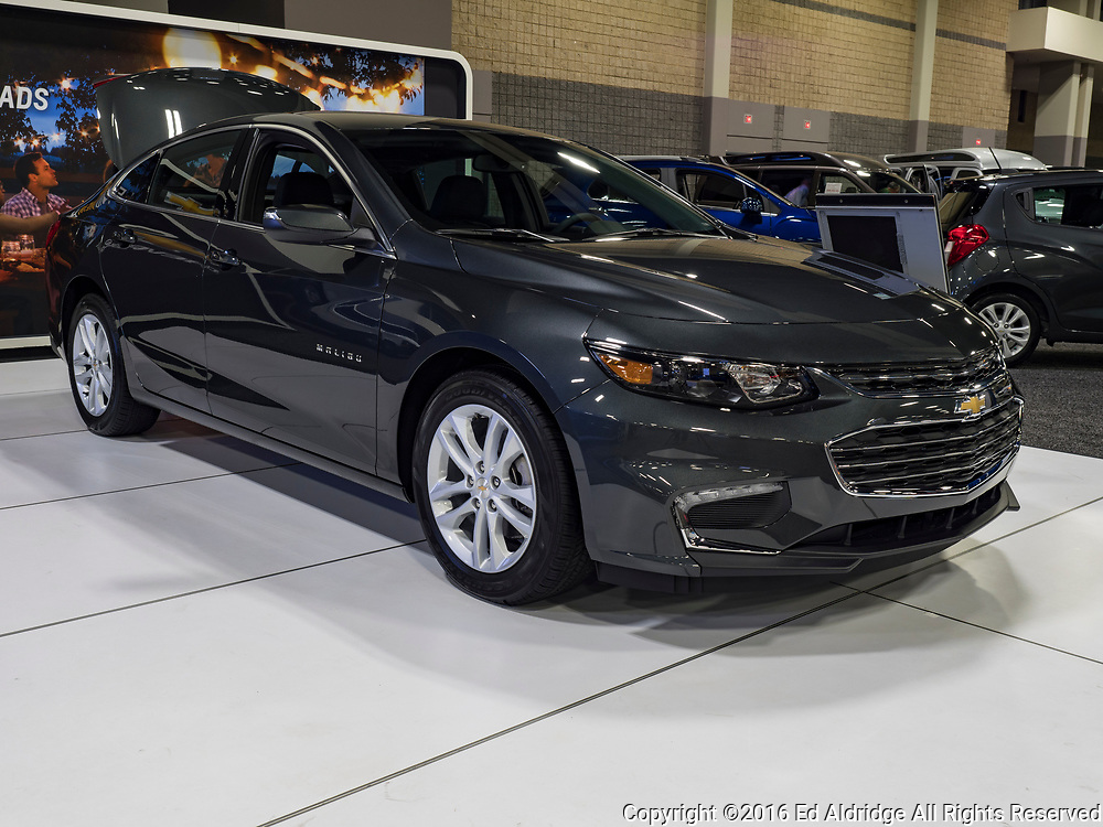 CHARLOTTE, NC, USA - NOVEMBER 17, 2016: Chevrolet Malibu on display during the 2016 Charlotte International Auto Show at the Charlotte Convention Center in downtown Charlotte.